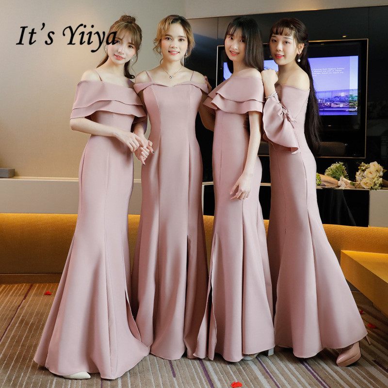 It's YiiYa Bridesmaid Dress 5 Styles Ruffles Boat Neck Soybean Pink Trumpet Party Dresses Girls Fashion Gown For Bridesmaid E038