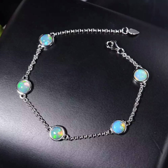 Y          925 sterling silver with natural opal bracelet with femaleY          925 sterling silver with natural opal bracelet with female