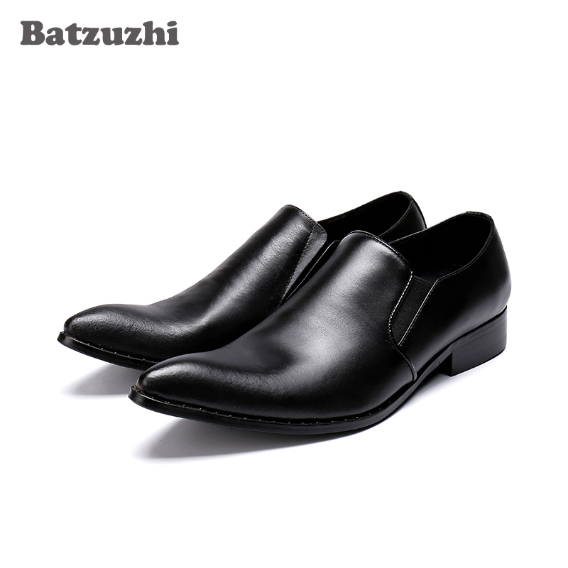 Batzuzhi Zapatos Hombre Black Genuine Leather Mens Shoes Formal Business Dress Shoes Leather Pointed Toe High Quality, Big US12Batzuzhi Zapatos Hombre Black Genuine Leather Mens Shoes Formal Business Dress Shoes Leather Pointed Toe High Quality, Big US12