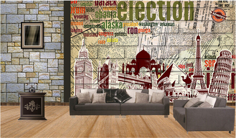 Custom 3D murals,retro brick wall in English newspaper papel de parede,hotel coffee shop living room TV wall bedroom wallpaper custom wallpaper ceiling murals palm blue sky for the living room ceiling apartment hotel background wall vinyl papel de parede