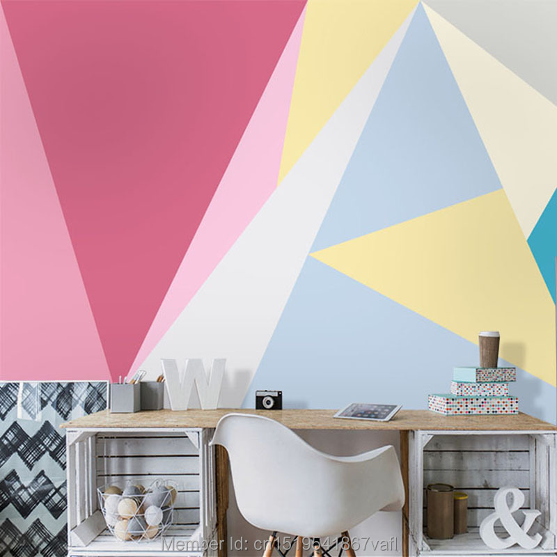 Tuya Art Custom pink geometric designs wall lmural on the wall decor ...