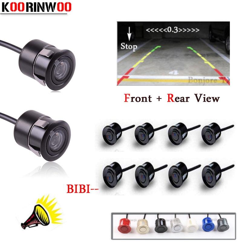 цена Koorinwoo Dual Core CPU Car Parking Sensor 8 Reversing Radars System Car Rearview Camera Car front camera Sound Alert parktronic