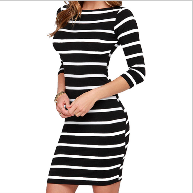 Vestidos autumn and winter 2018 hot new women dress fashion striped sexy slim slimming gatsby