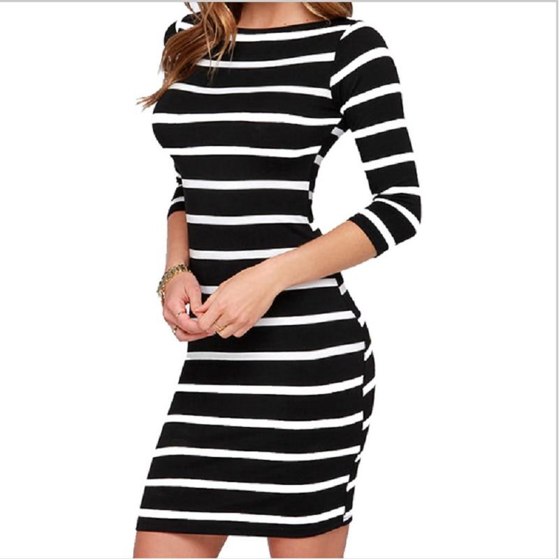Vestidos autumn and winter 2018 hot new women dress fashion striped sexy slim slimming gatsby