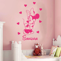 Creative DIY Cute Mickey Mouse Minnie Custom Kids Name Baby Wall Stickers For Kids Rooms Home
