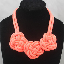 2016 Accessories neon color short design necklace handmade cotton rope knitted chain SS669