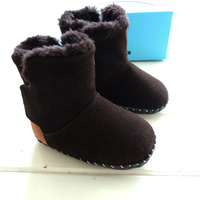 2016 Winter OMN Baby Boots Genuine Leather Baby Shoes Worm Fleece Infant Kids Booties
