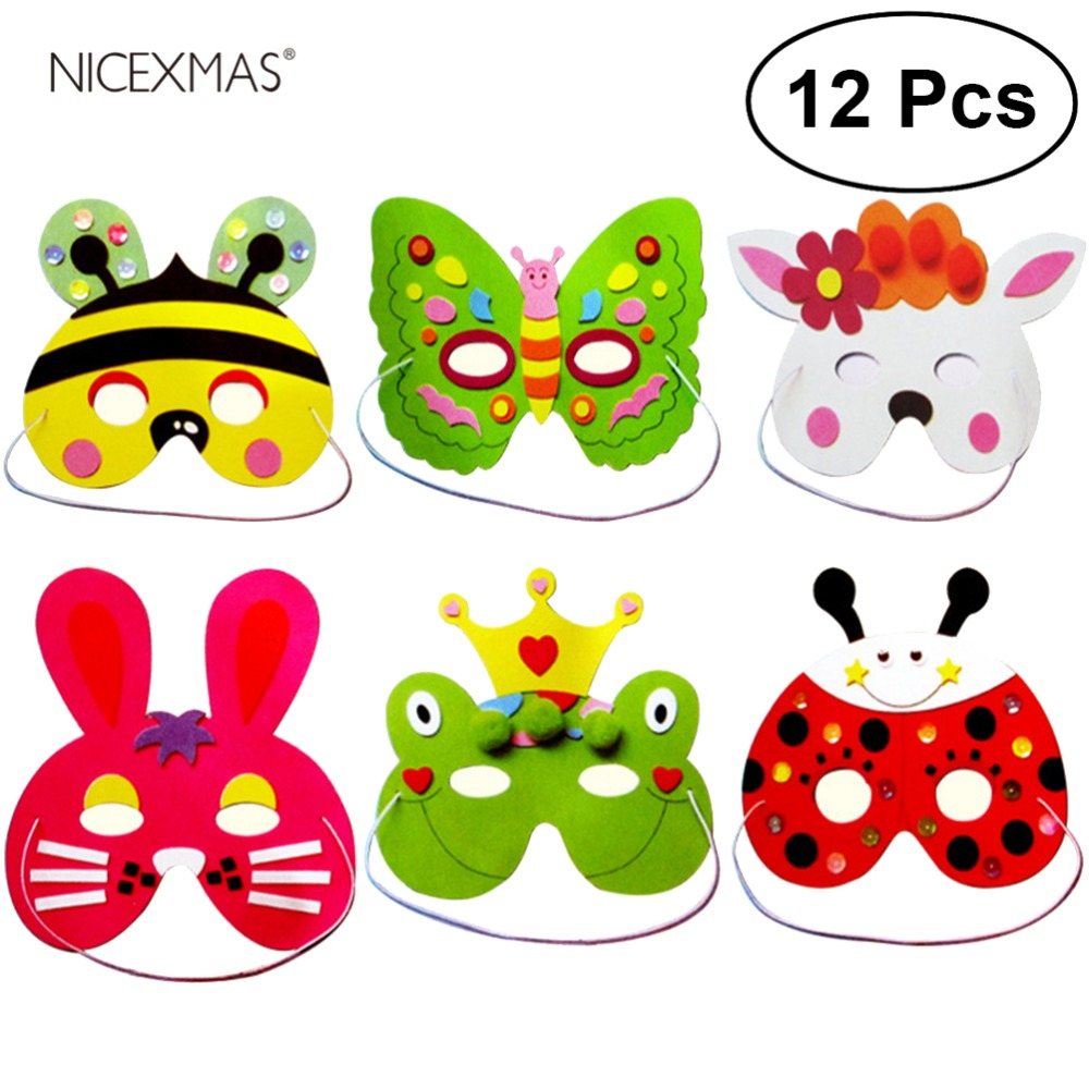 12Pcs Animal Face Mask For Children Kids Birthday Party Favors Dress Up Costume (Frog Rabbit Bee Beetle Butterfly SnowBear)