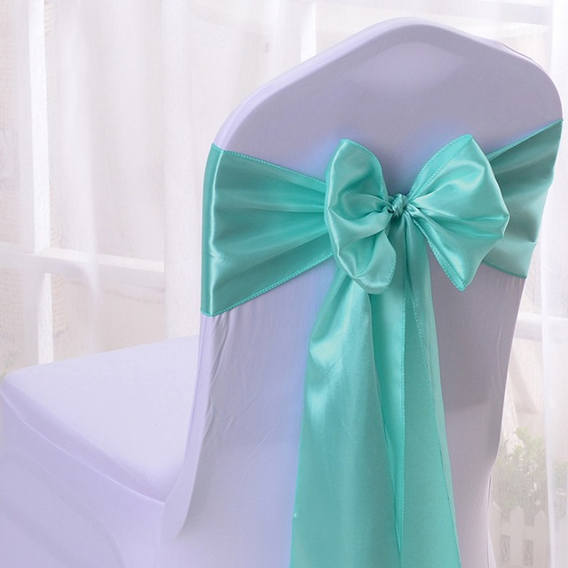 Wholesales 30pcs Aqua Satin Chair Bow Sashes Ribbon For Wedding