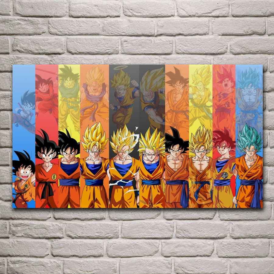 Hot Fabric Poster Dragon Super Goku from Normal to Ultra 36x24 30 40x27inch Z373