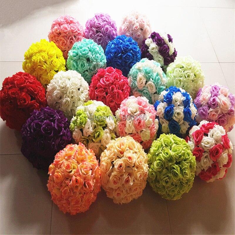 Rose Ball 4pcs 25cm Diameter Kissing Balls 24 Color Designs For Wedding Party Shops Artificial Decorative