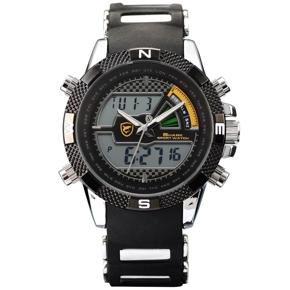 SHARK Sport Watch Brand Outdoor Digital LCD Dual Time Alarm Relogio Masculino Silicone Strap Clock Military Quartz-Watch / SH179 dropshipping boys girls students time clock electronic digital lcd wrist sport watch relogio masculino dropshipping 5down