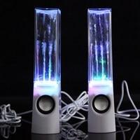 hot 2PCS LED Light Dancing Water Music Fountain Light Speakers for PC Laptop Phone Portable Desk Stereo water dancing Speaker