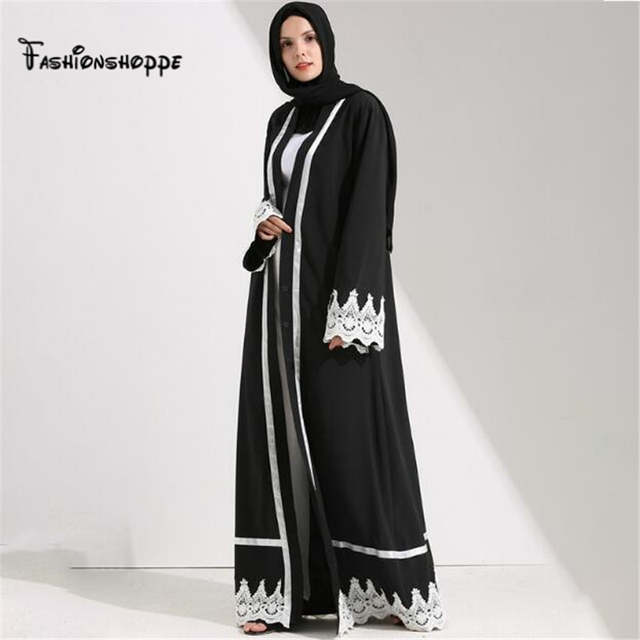 placeholder Dubai Style Front Open Lace Muslim Kimono Abaya Kaftan Dresses  Islamic Indian Clothes For Women Jilbab 54de0314a0e