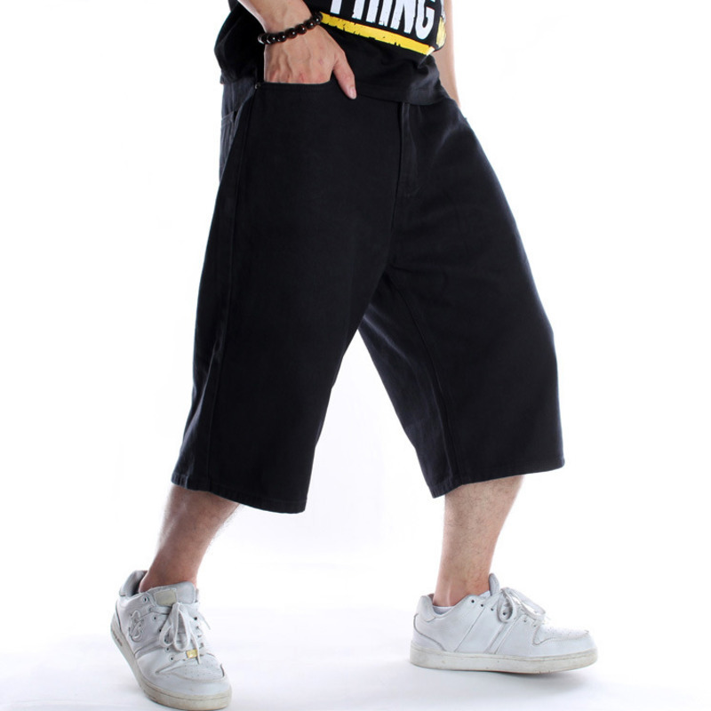 Hip Hop Black Skateboard Shorts Mens Denim Cargo Shorts Baggy Skateboard Short   Jeans   Male Loose Streetwear   Jeans   Shorts X9135