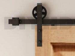 DIYHD 150 centímetros-244 cm falou roda grande celeiro de correr hardware porta de madeira rústica do vintage preto deslizante porta do celeiro kit trilha