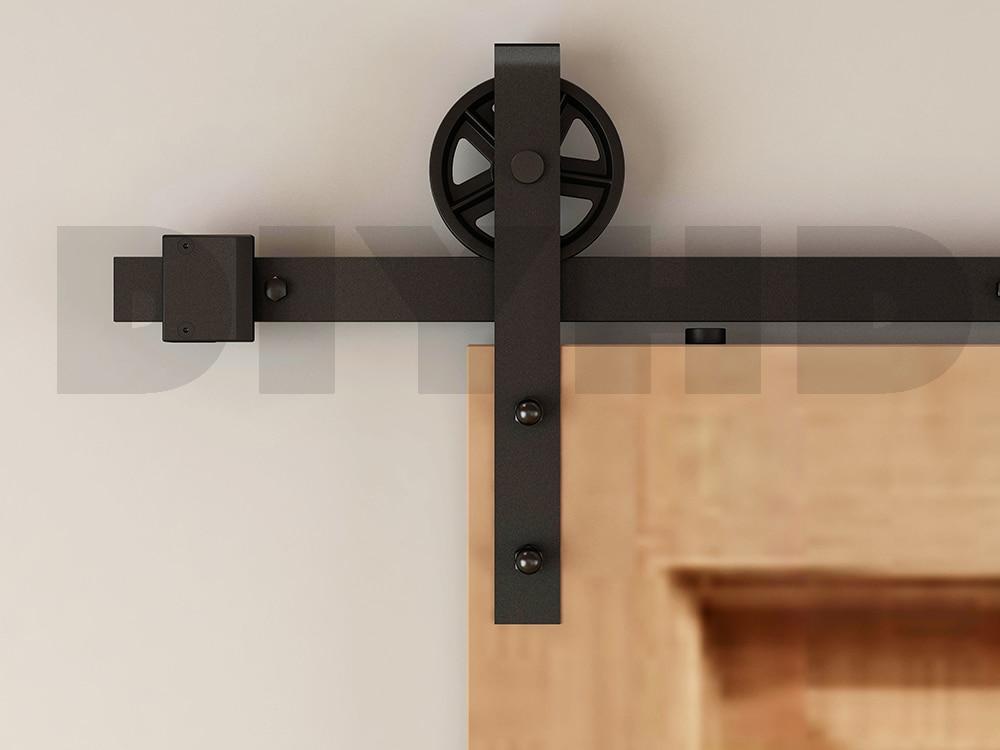 DIYHD 150cm-244cm Vintage Spoke Big Wheel Sliding Barn Wood Door Hardware Rustic Black Barn Door Sliding Track Kit