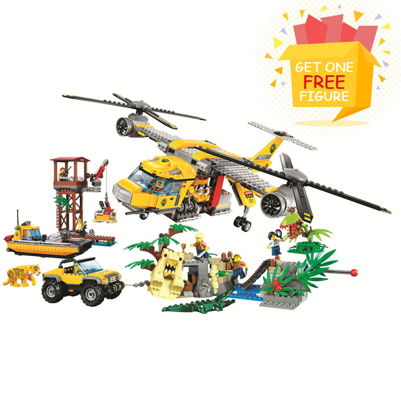 Bela Pogo Compatible Legoe 10713 1298PCS+ City Urban Jungle Air Drop Helicopter Building Blocks Bricks toys for children lepin 75821 pogo bela 10505 birds piggy cars escape models building blocks bricks compatible legoe toys