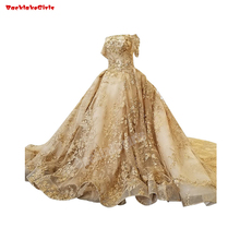 41106 Gold Ball Gown Wedding Dress With Long Sleeve Gown