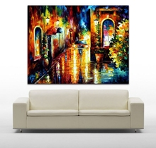 Modern Palette Knife Painting100% Hand-painted Midnight's Street Corner Canvas Oil Painting Home Decor Wall Art No Frame