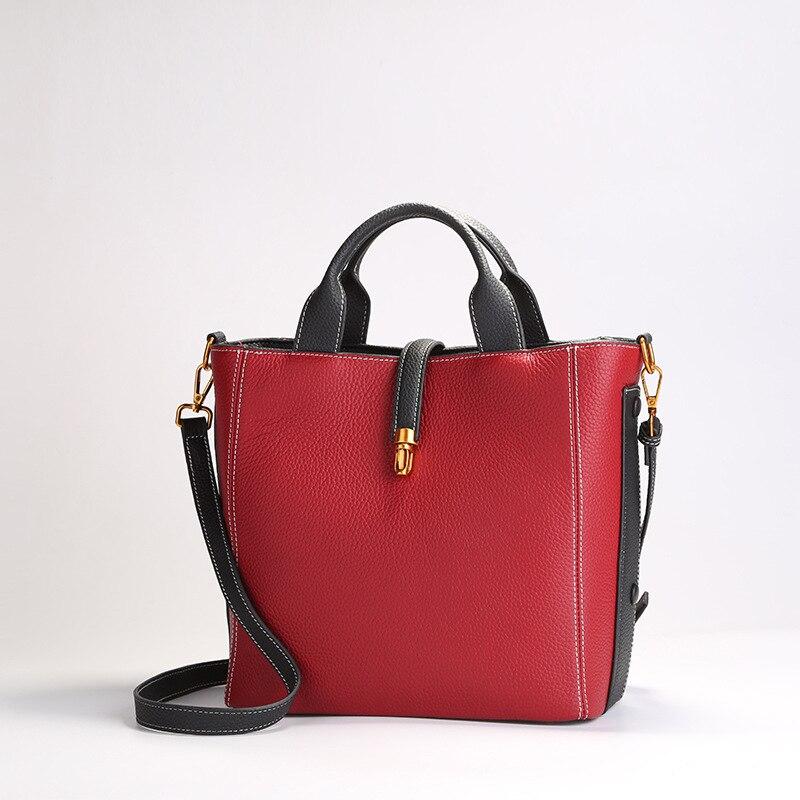 Fashion elegance Elegant Leather luxury handbags women bags designer Calfskin hit color Magnetic buckle shoulder bag