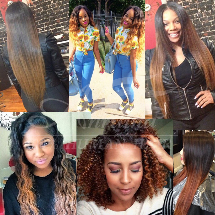 Light Auburn And Natural Black Straight Ombre Hair 7a Virgin