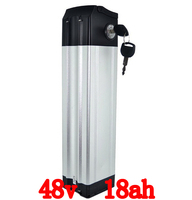 700W Silver Fish Lithium Ion Battery 48v 18ah For Electric Bike With 2A Charger And