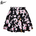 2017 Summer Style Black Flower Print Pleated Skirt Casual  Slim Kilts Harajuku Women Punk Sexy Kawaii Saia Apparel X-337