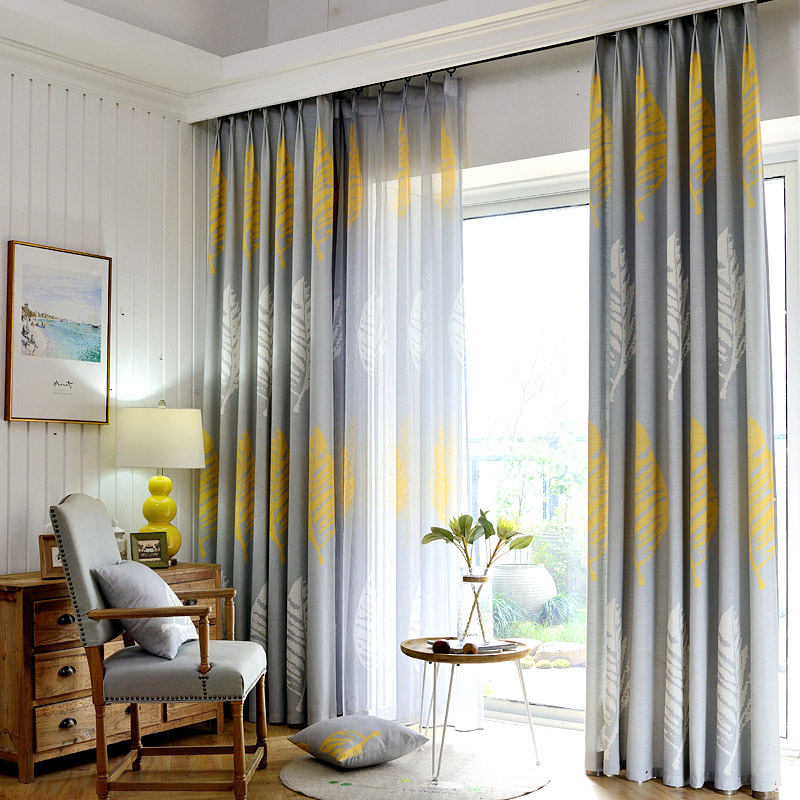 Grey And Yellow Curtains For Living Room Floor Tiles Modern Curtain Bedroom Shade Leaf Drapes Hotel Leaves Gray Custom Made Home Noren Rustic Xy8015 In From