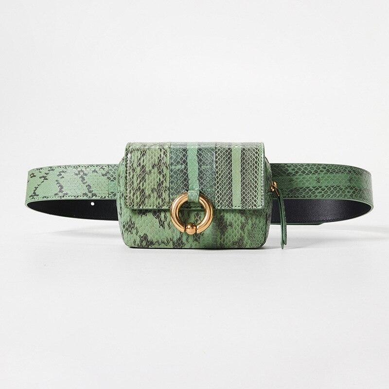 Taille sac femmes fanny pack ceinture sac de luxe marque de mode nouvelle femme sac python unique épaule mini lady
