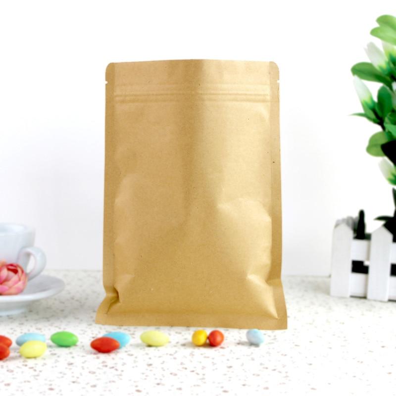 Event & Party Self-Conscious 6x8cm Kraft Paper Packaging Bag Food Paper Bag Flat Zipper Bag Small Kraft Paper Bag Zip Packaging 300pcs/lot Festive & Party Supplies