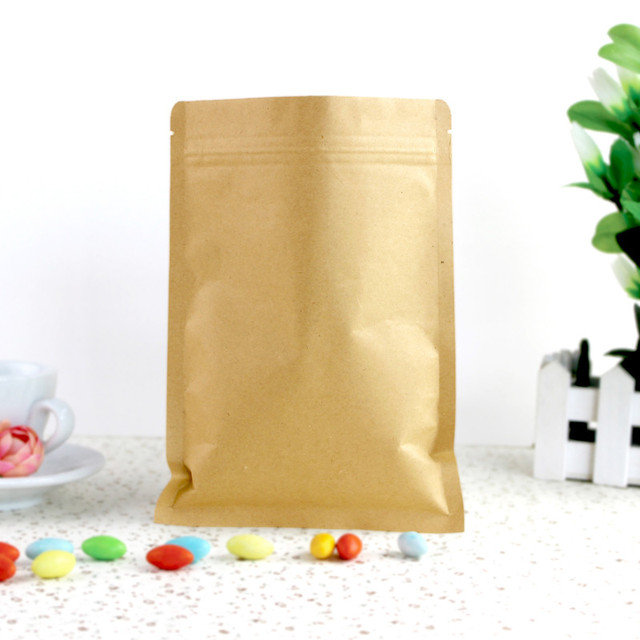 6x8cm Kraft Paper Packaging Bag Food Flat Zipper Small Zip
