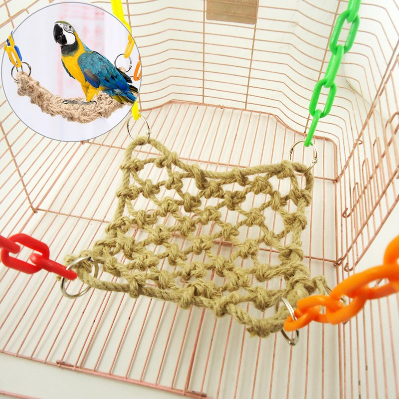 Home & Garden Hearty Parrot Bird Cage Hammock Swing Toy Cockatiel Macaw Parrot Hemp Rope Climbing Net Toys Bird Cages & Nests