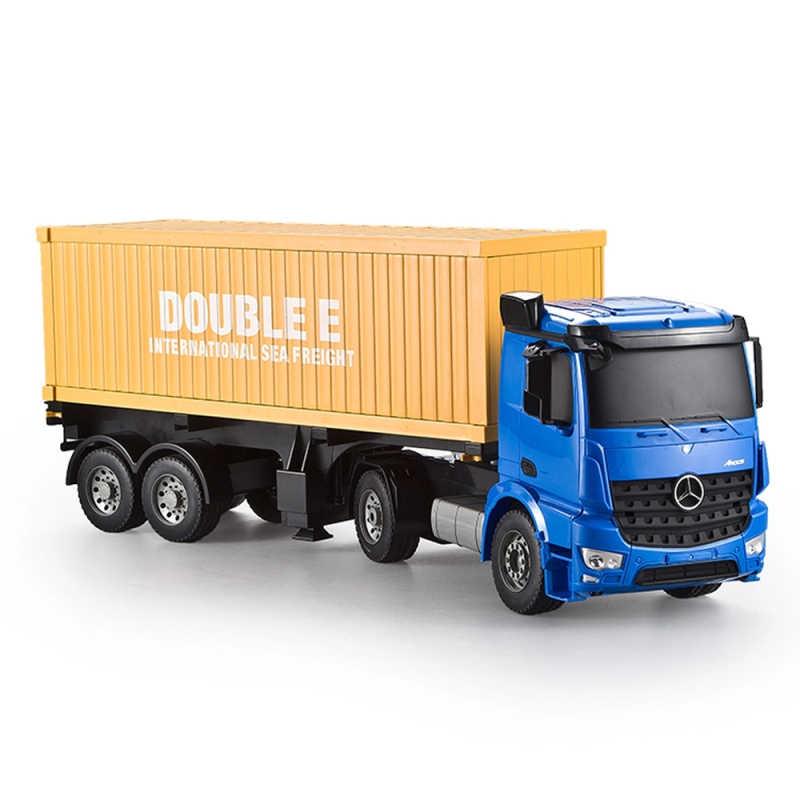 Camión RC 2,4G de alta velocidad del coche modelo de camión contenedor de juguete simulado luces juguetes para niños regalos de cumpleaños