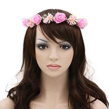 Hot Womens Gilrs Flower Headband Wreath Headdress Garland Wedding Bridal Hair Accessories 7FX6