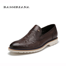 Shoes men Genuine leather New Spring 2017 39-45 size Fashion casual shoe for men Free shipping BASSIRIANA