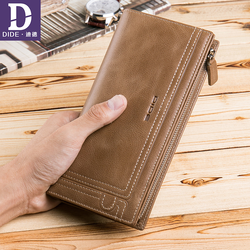 DIDE Men Wallet Clutch Genuine Leather Luxury Brand Vintage Wallet Male Organizer Cell Phone Clutch Bag Long Coin Purse 766 brand design men luxury individuality vintage long wallet skull style genuine cow leather purse men s clutch handy phone bags