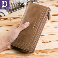 DIDE Men Wallet Clutch Genuine Leather Luxury Brand Vintage Wallet Male Organizer Cell Phone Clutch Bag