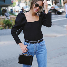 2019 New Streetwear Long Sleeve Puff Sleeve Low Back Top Casual Slim Fit Square Neck Tops Knitted Crop Top Women casual pure color high low knitted top for women