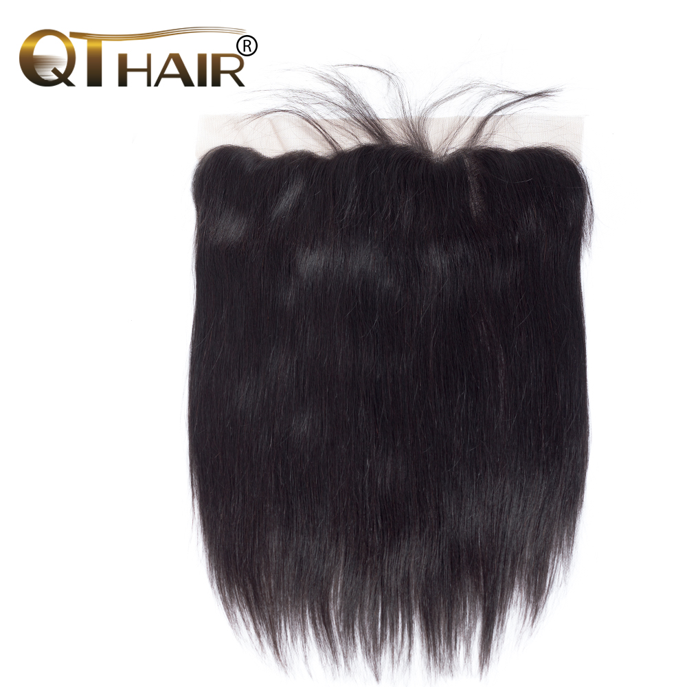 QThair Brazilian Straight Hair Lace Frontal Closure 13x4 Swiss Lace Ear To Ear Remy Human Hair