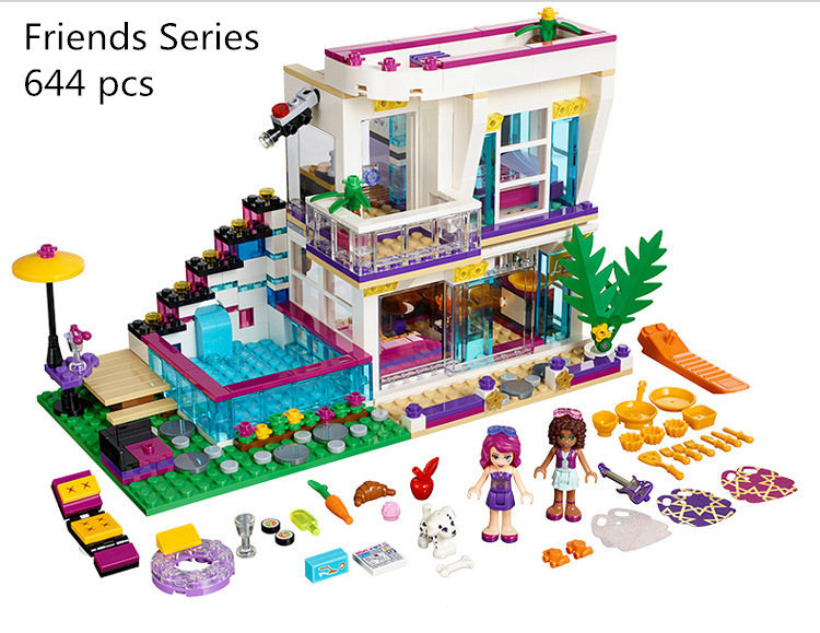 CX 01046 Friends Girl Series 644pcs Building Blocks kids toys Livi's POP Star House Designer toy gifts Compatible Legoe 41135 lepin 01046 girls club friends livi s pop star house building blocks compatible with friends house 41135 brick toys