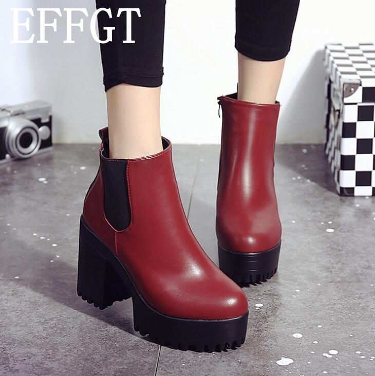 e50f4af4 V327 Mujer Gruesos Alto Otoño Martin Tobillo Plataforma Rebaño De Zapatos  Tacones rojo Effgt Tacón 2019 Negro Moda Para Negro Botas Nuevo waUC8Yqx