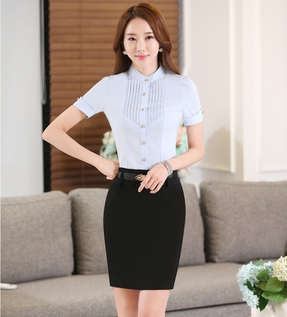 Novelty Blue Fashion OL Styles Ladies Summer Professional Work Suits Tops And Skirt Female Outfits Clothing Sets Plus Size