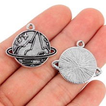 TJP 10 pcs Antique Silver Tone Mountains Planets Earth Round Charm Pendants for Necklace Jewelry Making Findings