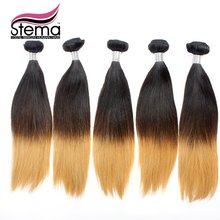 Free Shipping 5pc/lot Ombre Virgin Straight Hair Ombre 1B & #613 Ombre Hair Extensions Natural Black+#613 Ombre Hair Straight