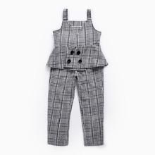 Детская одежда Модный весенне-осенний стильный клетчатый костюм на бретельках, жилет детский костюм детские брюки костюм из двух предметов