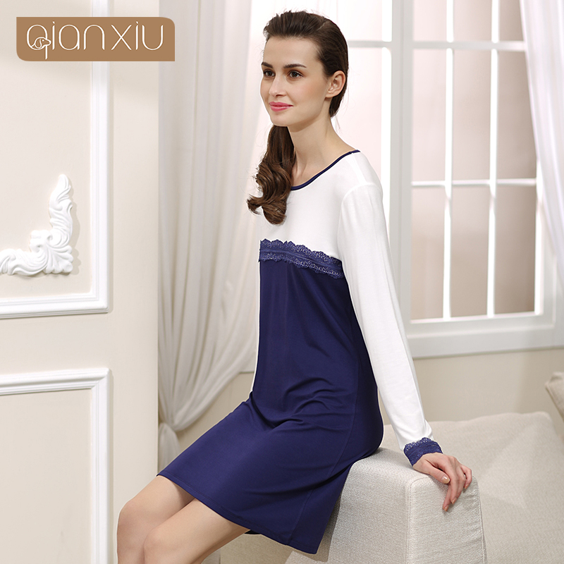 Qianxiu   Nightgown   For Girl Knitted Modal Fabric   Nightgown   Ladies   Sleepshirts   Sexy Lace Nightwear 15422