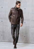 Men's genuine real natural leather coat sheepskin shearing short bomber pilot motorcycle jacket for male wool lined brown 4xl