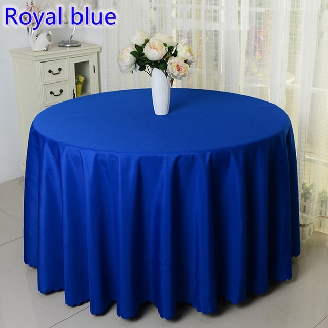 Royal Blue Colour Round Decorative Table Cover Polyester Tablecloth For  Wedding Hotel Round Tables Decoration Wholesale