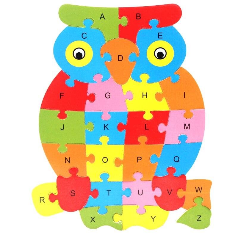 Новое поступление 2017 года ребенка раннего Learnning образовательных 26 Английский алфавит A-Z мультфильм животных деревянные игрушки Пазлы для м...